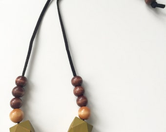 Wood beaded leather necklace