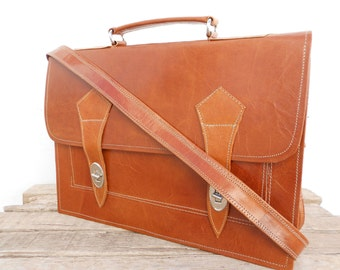 Fathers Day Gift, Brown Leather Messenger Bag for Men,  Natural Leather Messenger Laptop Satchel Bag, Gift for him