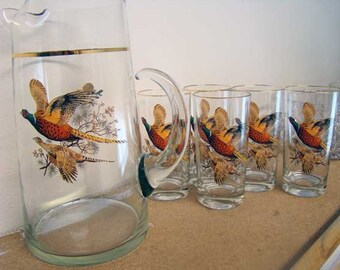 Gass bird pitcher with glasses, Vintage glass pitcher and glass set, Wild Birds, Pheasants