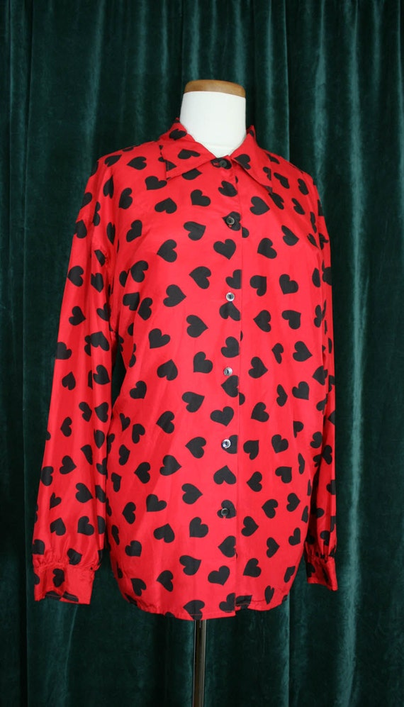 The Limited Vintage Heart Print Button Down Silk Blouse Size Large (1990s)