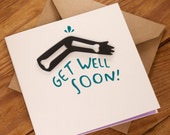 Get Well Soon Card - blank inside for your own message. Free UK shipping!