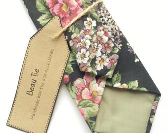 Floral tie, black skinny tie, black floral tie, mens skinny tie, wedding tie, men's floral tie, pink floral tie