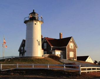 Nobska Lighthouse Photograph Cape Cod Photography Coastal Decor New England Falmouth Massachusetts Buzzards Bay Nautical Decor Fine Art