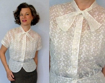 50s Blouse / 1950s Blouse / Sheer Blouse / Lace Blouse / Peplum Blouse / 40s Blouse / 1940s Blouse / Secretary Blouse / Bow Tie Neck Blouse