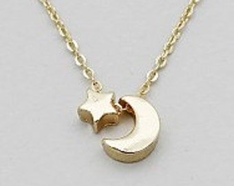 Love you To the Moon & Back, Moon and Stars Necklace, Star and Moon pendant