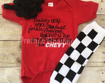 Racing Baby Girl Outfit – Bodysuit/Romper/TShirt, Legwarmers and Flower Headband – Daddy only wants the best for his princess