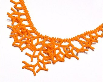 Orange Necklace. Bridesmaids Gifts. Bridal Necklace.  Wedding Necklace. Beadwork.