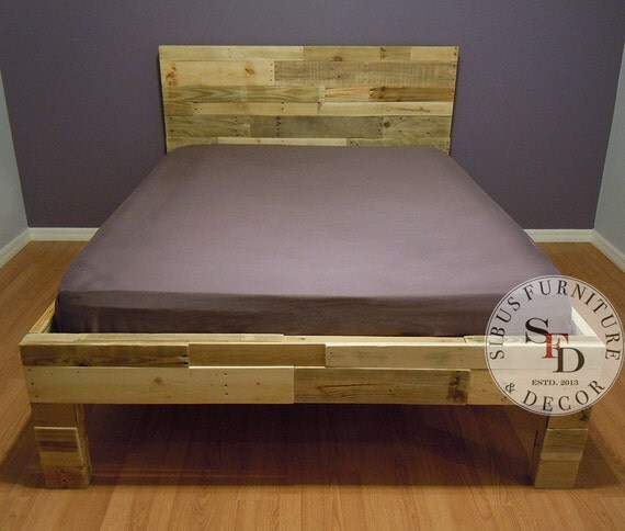 King bed frame pallet bed reclaimed wood bed by sibusfurniture for Wood pallet twin bed frame