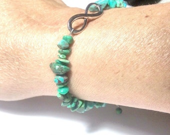 Infinity Bracelet of Real Turquoise