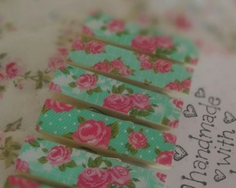 6 Shabby Cottage Chic Teal Floral Roses Decorative Wood Clothespins .. Magnets Optional .. Gift Idea .. Handmade READY TO SHIP In Stock