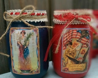 2 Patriotic Americana Painted Mason Jars Decoupage Rustic Farmhouse Primitive Victorian 4th of July 4th Table Centerpiece Decor Decoration