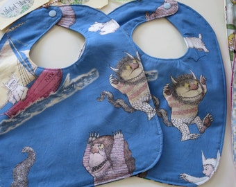 """Blue Baby Bib """"Where the Wild Things Are""""  with Waterproof Backing"""