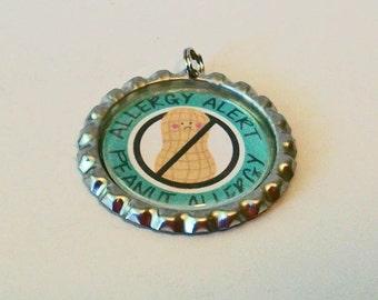 Unique Allergy Alert Nut Peanut Allergy Flattened Bottlecap Pendant Necklace