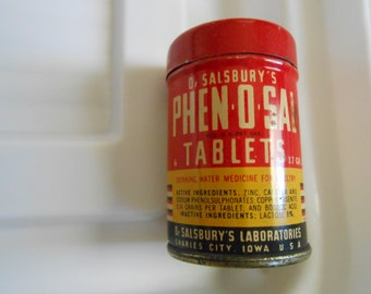 Vintage 1937 Dr. Salsbury's Phen o Sal Poultry Tablets Sample Tin Iowa 2