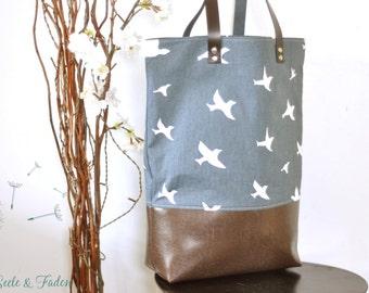 LIVA - the small shopper / great birds on blue
