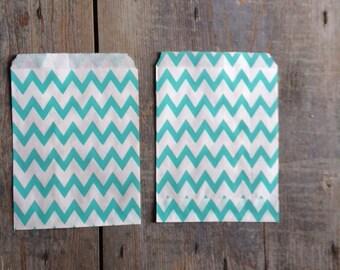 10 Sachets bag paper bags paper 13 x 18 white chevron zig zag green mint white