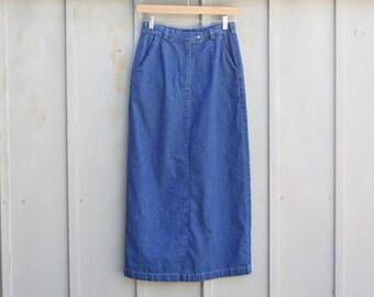 Long denim skirt | Etsy