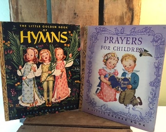 1940s Set of 2 Little Golden Books, Hymns 1947 H, and Prayers for Children 1942 S