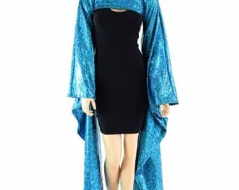 Turquoise on Black Shattered Glass Kimono Bolero (Bolero Only) Rave Festival Cosplay 152410