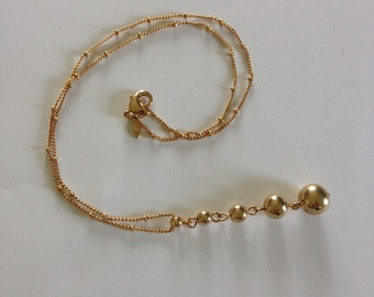 Avon Gold Tone Necklace with Ball Drop Pendant Minimalist 1980s