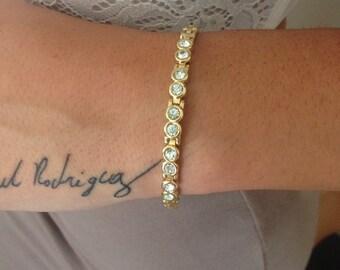 Rhinestone Tennis Bracelet Gold Tone Classy Minimalist Style