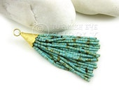 Short Turquoise Matrix Afghan Tibetan Heishi Seed Beaded Gold Tassel Earring Tassel Pendant Bohemian, Jewelry Boho Tassel Necklace Jewelry
