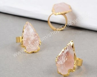 Pretty Gold Plated Rough Natural Rose Quartz Arrowhead Ring Quartz Jewelry Making Jewelry Gemstone Jewelry  G0689