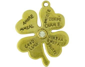 Good luck pendant etsy 5 gold four leaf clover charm good luck pendant 31x25mm by tijc sp1328 mozeypictures Gallery