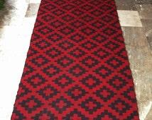 CLOSURE SALE 50% Vintage Kilim Rug Runner - Red Cross Black Cross Long Carpet Geometric - Wool Reversible Rustic Modern Home Decor -  Folk A