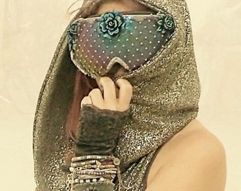 "Burning Man Goggles ""Blossom"" in sparkly blue"