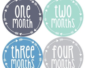 Baby Boy Month Stickers Monthly Baby Sticker Monthly Baby Stickers Baby Month Stickers Arrows Milestone Stickers Photo Stickers 1018