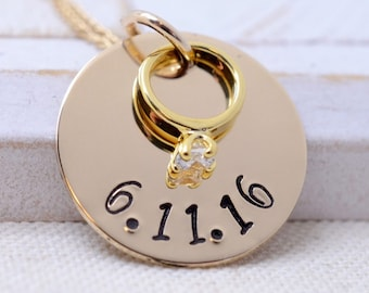 Personalized 14K Gold Wedding Ring Necklace, Hand Stamped, Bridal Gift, Anniversary Date, Wedding Date, Gift for Bride
