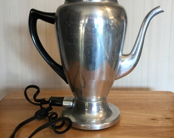Vintage Aluminum 8 Cup Electric Coffee Pot