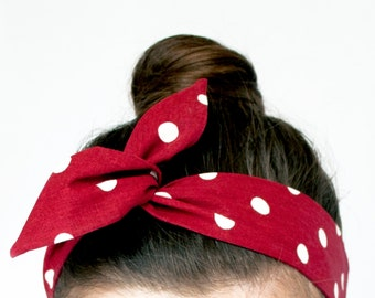 Red Dolly Bow Hair Wrap. 50s Style Twist Scarf. Red Polka Dot Wire Headband. Rosie The Riveter Headband. Cherry Red Polka Dot Twist Scarf.