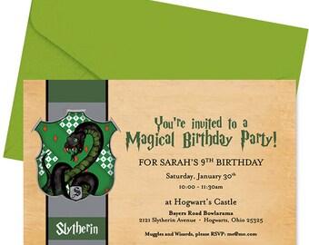 Harry Potter Birthday Invitation - Slytherin Birthday Invitation - Harry Potter Invite - Slytherin Invite - Hogwarts Invite - Personalized