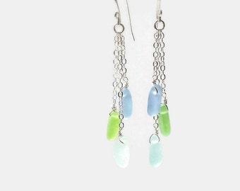 Beach Glass Dangle Earrings, Sea Glass Jewelry