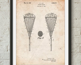 Lacrosse Stick 1948 Patent Poster, Lacrosse Gifts, Sports Wall Art, LAX, Coach Gifts, PP0199