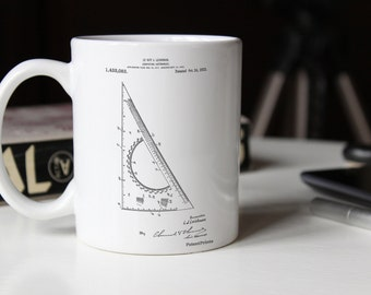 Drafting Triangle 1922 Patent Mug, Drafting Tools, Architect Gift, College Student Gift, Office Mug, PP0786