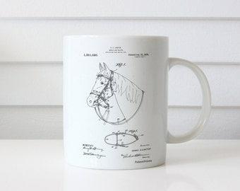 Bridle and Halter Patent Mug, Horse Mug, Equestrian Gifts, Western Decor PP0338