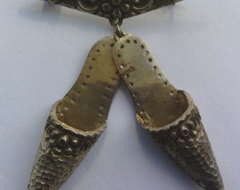 Vintage Silver Slipper Brooch