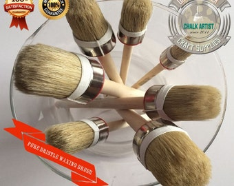 HQ7 - CHALK paint & soft wax quality pure bristle round brushes ultimate set of 7 BRUSHES - Shabby Chic furniture brush super set