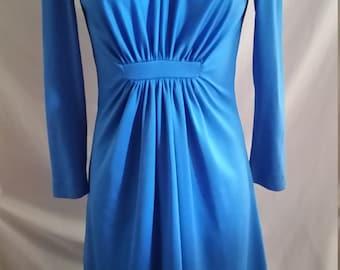 Habe Garments Sydney vintage blue polyester dress  size 10