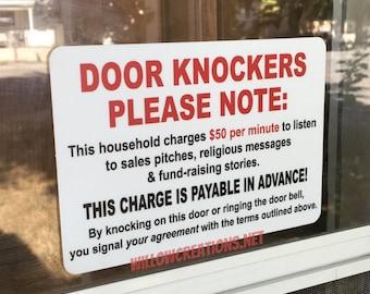 Door Knockers Please Note - No Soliciting - Funny Door Decal - Funny Sticker - Waterproof Sticker - Door Decal - Front Door Decal