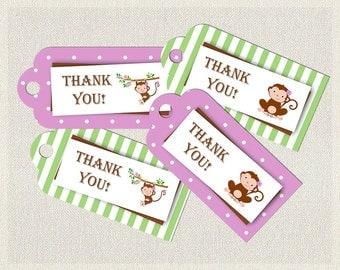 Purple Thank You Favor Tags Birthday Monkey Polka Dots Green 1st 2nd 3rd Printable Girls IV-2