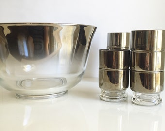 Dorothy Thorpe Style Silver Ombre Punch Bowl Barware Set / Vintage Barware /Mid Century Punch Bowl and Glasses