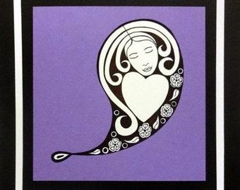 Wall Art - Heart Paisley - Drawing - OOAK