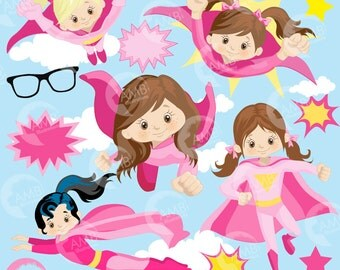 Superhero Clipart, Super Hero Clipart, Super Hero Girls Clipart, Super Girl in Pinks, commercial use, AMB-1034