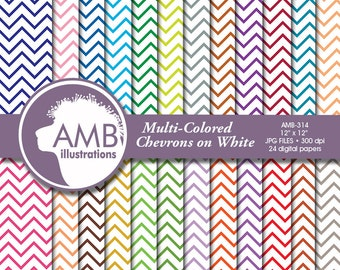 Chevron papers, Chevron digital papers, scrapbook, Colored Chevrons on White Patterns, commercial use, AMB-314