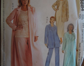 McCalls 3884, womens plus sizes, womens petite, duster, unlined jacket, dress, top, pants, UNCUT sewing pattern, craft supplies