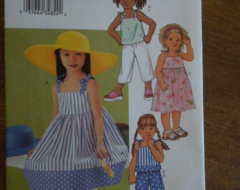 Butterick 3477, sizes varies, childrens, girls, dress, top, shorts, pants, UNCUT sewing pattern, craft supplies